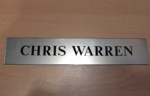 Door NamePlate made to order | Brushed Stainless steel effect
